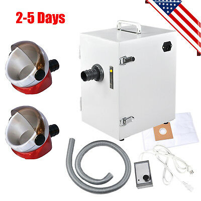 US Dental Lab Digital Single-Row Dust Collector Vacuum Cleaner + 2X Suction Base
