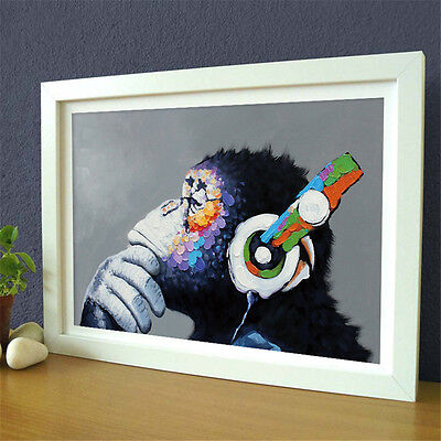 1 Pc Hand Painted Cartoon Animal Funny Monkey Listen Music Oil Painting Canvas
