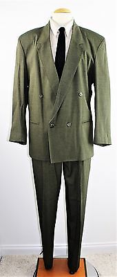 """Vintage 80's Men's COTLER Double Breasted Olive Green Suit Size 40 R 33"""" x 32"""""""
