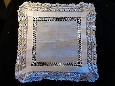 Victorian Wedding Hankie ~ Destined to become a keepsake~Lace Edging/ (Item#51)