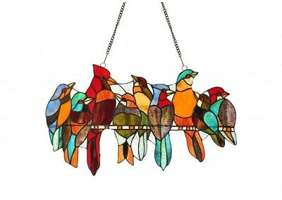 Stained Glass Panel for Window Tiffany Style Victorian Birds Flock Suncatchers