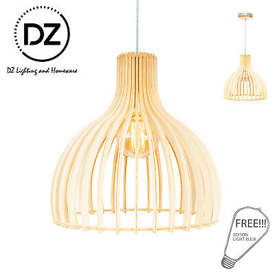 HITOMI Natural Wooden Modern Home Restaurant Cafe Ceiling Pendant Lighting Lamp