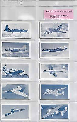 1952 Osborne Tobacco Company Mint Set of Modern Aircraft 50 Cards in Total