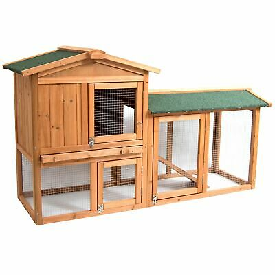 Pet Rabbit Hutch Wooden 2 Tier Cage Guinea Pig Bunny Run House Pen Animal Home