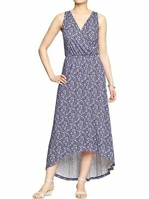 4da6e7f7c27 OLD NAVY Cross Front High Low Maxi Dress Blue Paisley Print Size SMALL