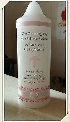 Personalised Christening Candle For Girl