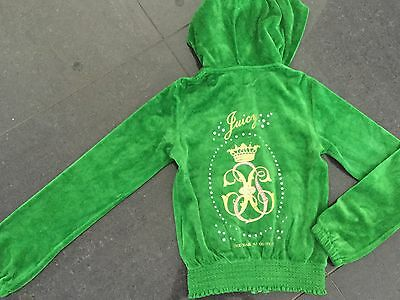 NWT Juicy Couture New & Genuine Girls Age 8 Green Velour Hoody With Juicy Logos