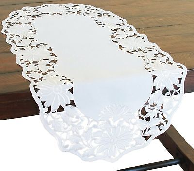 16 by 34 Xia Home Fashions XD110737 Country Egg Embroidered Cutwork Easter Table Runner