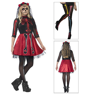 Smiffys Womens Day Of The Dead Diva Costume Dress Or Opaque Skelton Print Tights