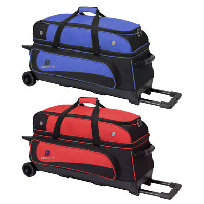Bowling Ball Tasche Ebonite Transport III blau. rot, 3-Ball Roller Bowlingschuhe