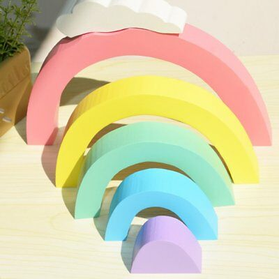 Lovely Wooden Rainbow Building Blocks Kid's Room Decoration Photography Props GT