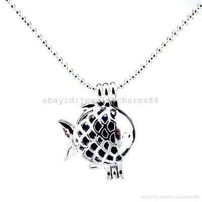 L19 Bright Silver Ocean 21mm Fish Locket Necklace Stone Cage Perfume Pendant