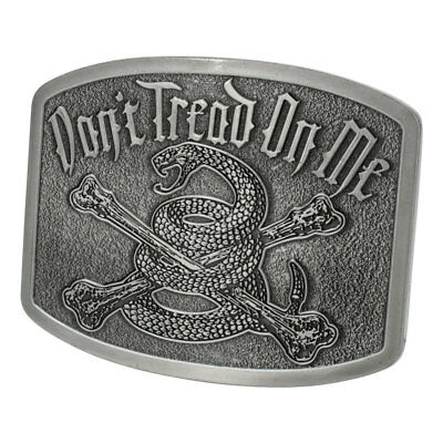 Square Dont Tread On Me Rattle Snake Belt Buckle | Antique Silver