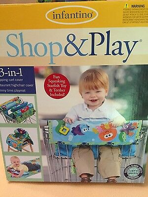 Infantino Shop & Play 3 in 1 Shopping Cart/High Chair Cover/Tummy Time Neutral