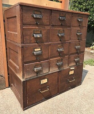 Vintage Industrial Yawman Erbe Card Catalog Drawer Stacking Filing Cabinet