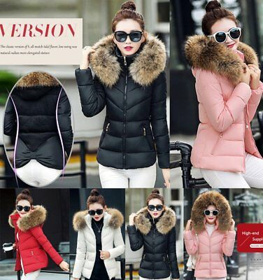 ladies jacket Quilted Padded Puffer Fur Collar Warm Bubble Womens Puffa Coat RK
