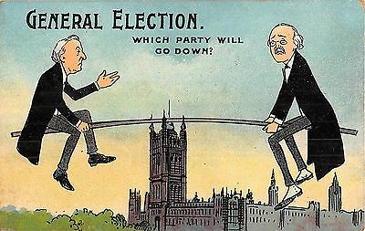 POSTCARD  POLITICS / SATIRE  GENERAL  ELECTION  Which  party will go  down  ?
