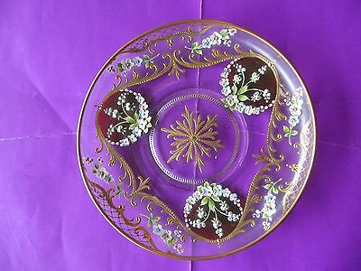 Beautiful vintage Enameled Glass Display Plate-All hand made