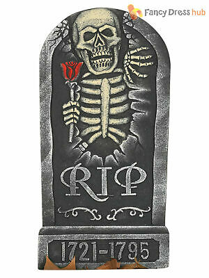 24 PIECE GRAVEYARD TOMBSTONE SET SKULL BONE HALLOWEEN PARTY DECORATION