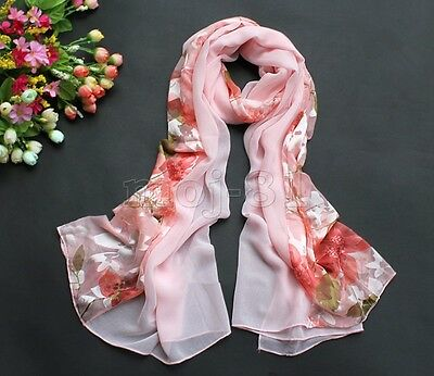 "New Fashion Women's Long Soft 100% Silk ""Floral"" Scarf Wrap Shawl Stole Scarves"