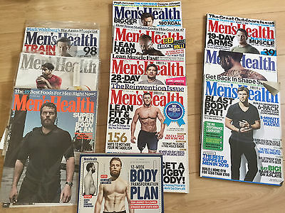 Mens Health Magazines x10 + 2x workout guides/plans
