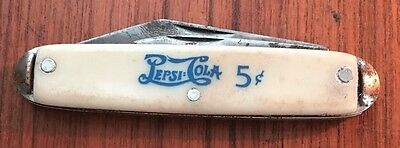 Vintage Pepsi Cola 5 Cents Usa Advertising Folding Pocket Knife 2 Blades