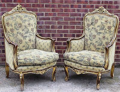 Antique French Furniture - Pair Of Wingback Armchairs - Louis - Gold C335