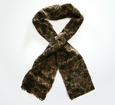 Nwt Polo Ralph Lauren 100% Wool Fringed Camo Military Patterend Scarf