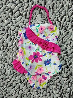 Old Navy Swim Bathing Suit 3-6 Mo Baby Girl One Piece White Floral Pink Ruffle