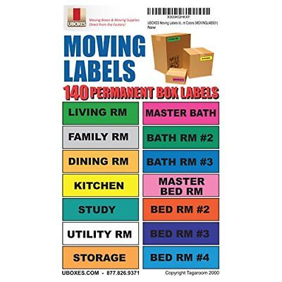 UBOXES Moving Labels Identify Moving Box Contents with 140 Labels, 4.5 x 1""