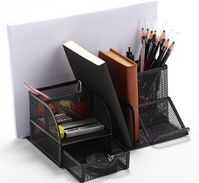 Vencer Versatile Office Supply Caddy, Desk Organizer and File Stand (Black)