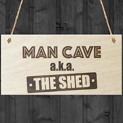 Red Ocean Man Cave AKA The Shed Novelty Wooden Hanging Plaque Funny Sign Gift