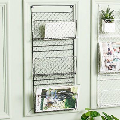 Three Compartment Wall Mounted Metal Mail And Magazine Rack Wall Store Holder -