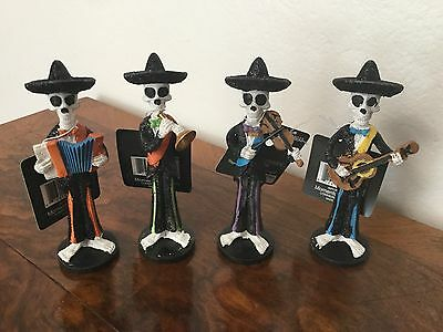 "Four Day of the Dead (Sugar Skull) Mexican Mariachi Band figurines 4 1/2"" tall"