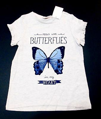 H&m Girls Size 6-8Y Short Sleeve Butterfly Pint Top New With Tags