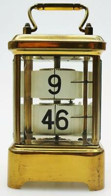 Antique C1910 French 8 Day The Plato Clock Brass Flip Ticket Carriage Clock