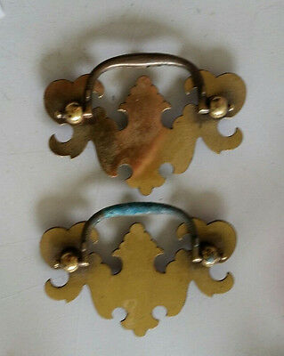 "Pair . Old,vintage Matching  Metal Drawer Pulls Handles 2 1/2"" Ctr To Ctr (406)"