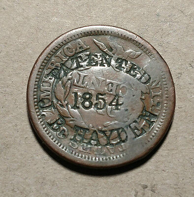 "1856 Large Cent Counterstamped ""J B HAYDEN PATENTED 1854"" Countermarked Counter"