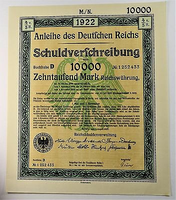Germany Bond 1922 10,000 Marks Weimar Republic Uncirculated