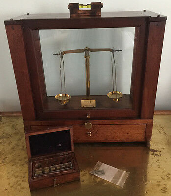 Antique Eimer & Amend NY Jewelers Apothecary Encased Balance Scale USA 1800's