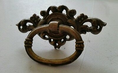 ONE. Fancy OLD,VINTAGE MATCHING  DRAWER PULLS HANDLES SOLID CAST BRASS  (410)