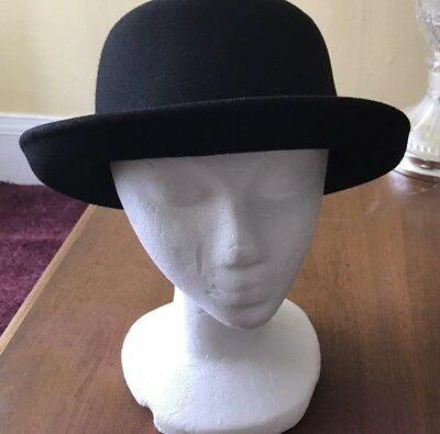 Women's Black Derby Style Hat 100% Wool One Size