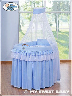 My Sweet Baby - Royal Veil Wicker Crib Moses Basket - Blue