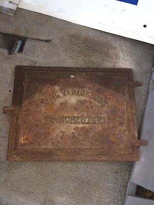 "1920's 10 3/8"" Cast Iron J B Varick Co Furnace Door Manchester Nh"