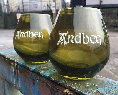 2x Ardbeg Malt Whiskey Green Glasses Brand New Pub/ Bar/ Mancave