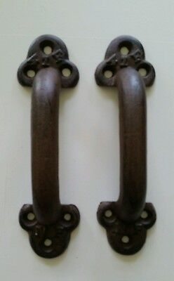 Pair Of Big Heavy Cast Iron Barn Door  Handles 9 1/2 By 3 Inch  2 Lbs Each