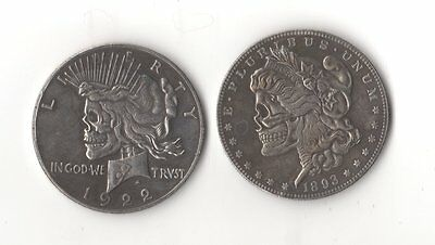 1893/1922 Morgan/Peace Dollar Two Face Hobo Nickel Style Zombie Skull Coin
