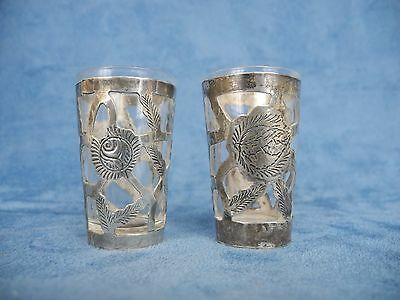 Pair 925 Sterling Silver Overlay Shot Glasses Mexico