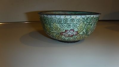 Small Chinese metal dish incense, rice or ? decorative scrollwork, antique