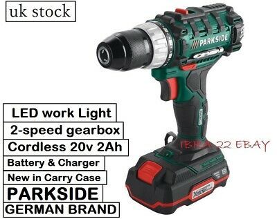 New Parkside Cordless Drill 20v Lithium-ion Battery Charger LED work light set